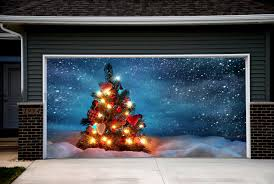 Christmas Decorations Outdoor by Christmas Tree Garage Door Covers Snowman 3d Banners Outside House
