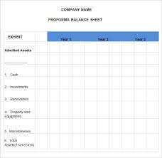 Free Balance Sheet Template Excel Pro Forma Balance Sheet 4 Free Excel Pdf Documents