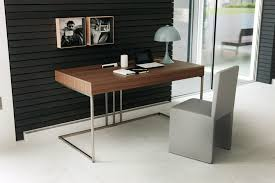 Stainless Steel Office Desk Large Modern Writing Desks Black Tapered Glass Table Top Stainless