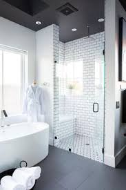 Gray And White Bathroom - gray and white bathroom with classic subway tile home design