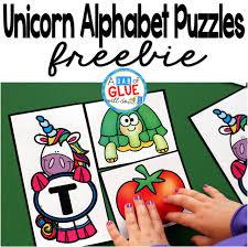 unicorn alphabet puzzles a dab of glue will do