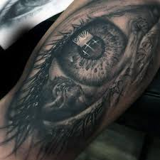 guys forearms religious eye tattoos