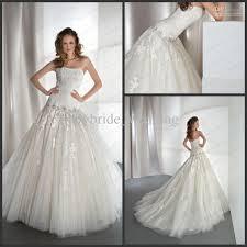 strapless lace tulle dropped waist demetrios wedding dress 14379