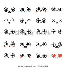 doodle emoticon set lovely kawaii emoticon doodle stock vector 574035649