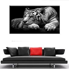 modern home decoration white tiger painting no frame on canvas