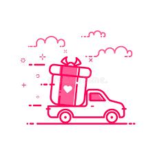 valentines delivery vector illustration of icon valentines day shopping concept delivery
