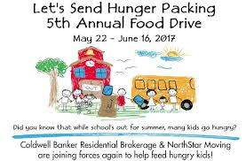 send food help coldwell banker and northstar moving send hunger packing