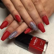 holiday red and silver glitter long coffin nails nail nailart