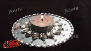Mirror With Candle Sconces Diy Candle Holder With Mirror And Kundan Jk Arts 197 Youtube