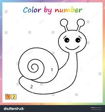 snail painting page color by numbers stock vector 626597348