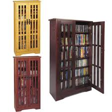Cd Storage Cabinet With Glass Doors Leslie Dame Cd Storage Cabinet With Glass Doors Oak Walnut Or