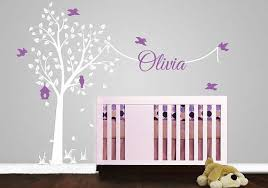 Purple Nursery Wall Decor Tree Wall Stickers With Name Decal Garden Tree Nursery