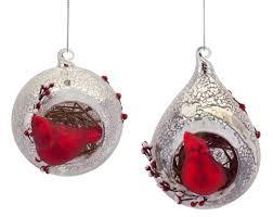 pack of 6 rustic cardinal bird mercury glass and teardrop
