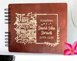 memorial guest book funeral guest book personalized wooden memorial guestbook