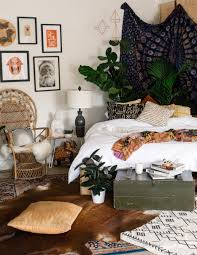 Bedroom Plants King Bed In The Corner With Plants And Tapestry Behind It Make A