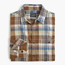 tall midweight flannel shirt in large plaid men tall shop j crew