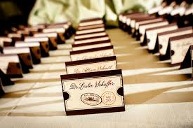 themed place cards union station wedding reception eugene united with