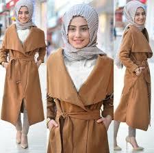 desain jaket warna coklat baju setelan hijab celana modis murah desain 4 in 1 long cardigan