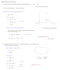 math plane quadratics overview and notes