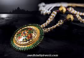 antique gold jewellery pendant from tanishq jewellers enamel
