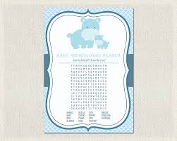 word search hippo baby shower games blue boys word search