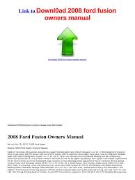 service manual 2008 ford fusion owners manual for free seat belt