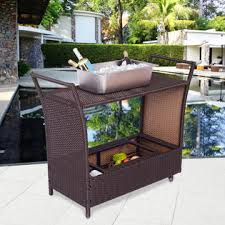 costway patio rolling rattan kitchen trolley cart dining aluminum
