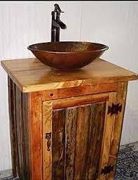 Rustic Bathroom Vanities For Vessel Sinks Rustic Bathroom Vanity With Copper Vessel Sink And Bronze Pump