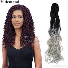 different types of crochet hair 2018 fashion newest ombre 20 roots synthetic wavy faux locs curly