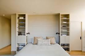 bookshelf headboard bedroom modern with beige built in bookshelves