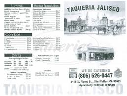 Simi Valley Map Taqueria Jalisco Menu Simi Valley Dineries