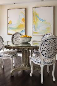 French Yellow Chair Yellow And Blue Abstract Art Contemporary Dining Room