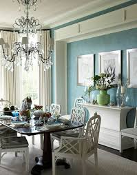 Dining Room Crystal Chandelier by Blue Dining Room Design White Cane Dining Chairs Silk White