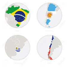 Chile National Flag Brazil Argentina Uruguay Chile Map Contour And National Flag In