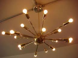 Atomic Lighting Polished Brass Atomic Sputnik Starburst Light Fixture Chandelier