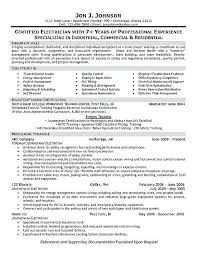 Electrician Apprentice Resume Examples Resume Samples For Electricians Electrician Resume Example Example
