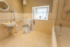 thorneyhaugh farm holiday cottages accommodation bathroom with shower over bath wc and wash basin grab rails and a seat for ease of use
