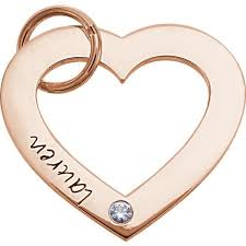 Customized Heart Necklace 14k Gold One Stone Posh Mommy Small Engravable Heart Loop Pendant