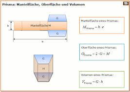 fläche zylinder berechnen prisma formeln berechnen volumen oberfläche mantelfläche