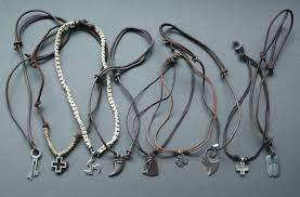mens leather necklace chains images Sell mens leather necklace leather necklace with clasps leather jpg