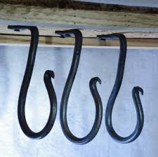 set of hand forged hooks under cabinet or ceiling by hotworks idolza set of hand forged hooks under cabinet or ceiling by hotworks