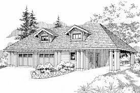 Carport Construction Plans Craftsman House Plans Garage W Carport 20 033 Associated Designs
