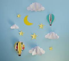 hot air balloon wall decal paper wall art wall decor 3d zoom