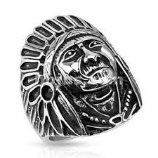 stainless steel mens rings the big chief indian chief headdress war bonnet black oxidized
