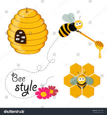 collection honey related graphics consisting bee stock vector