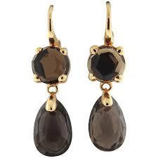 smoky quartz earrings pomellato lola gold smokey quartz drop earrings for sale at 1stdibs