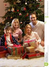 family opening presents stock photos image 18746833