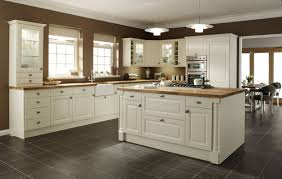 gray square tile kitchen floor plus white wooden kitchen island