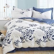 Olive Bedding Sets Blue Olive Leaf Print Bed Linen Set Striped Plaid Bedding Sets