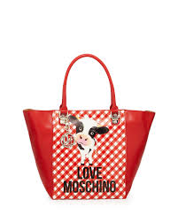 love moschino cow ginghamprint fauxleather tote bag in red lyst